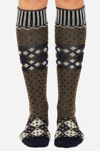 Stance Prescott Olive Green Print Socks at Lulus.com!
