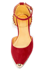 Shoe Republic LA Merry Wine Red and Gold Chain D'Orsay Flats at Lulus.com!