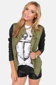White Crow Bancock Black and Green Military Jacket at Lulus.com!