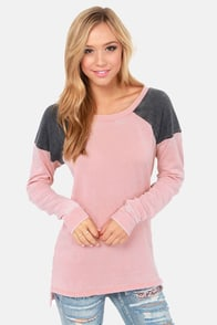 Others Follow Slouchy Grey and Pink Sweater at Lulus.com!