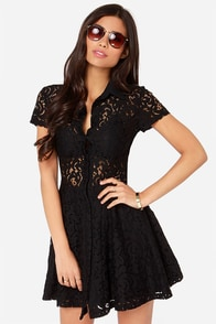 Proper Pirouette Black Lace Dress at Lulus.com!