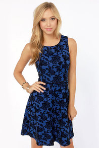 Annie Are You Bouquet? Blue Jacquard Dress at Lulus.com!