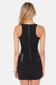 Stay Out Later Alligator Black Vegan Leather Dress at Lulus.com!