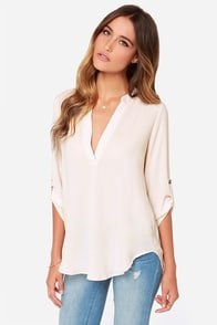 V-sionary Light Beige Top at Lulus.com!