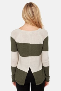 Olive & Oak Set of Stripes Olive Green Striped Sweater at Lulus.com!