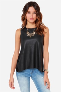 Back to Back Black Vegan Leather Top at Lulus.com!