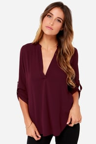 V-sionary Burgundy Top at Lulus.com!