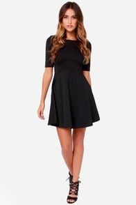 Black Swan Ocean Black Skater Dress at Lulus.com!