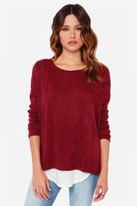 Every Morning Wine Red Sweater at Lulus.com!