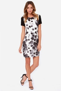 Black Swan Fantasy Black and Ivory Print Dress at Lulus.com!