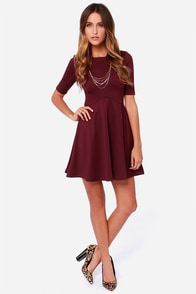 Black Swan Ocean Burgundy Skater Dress at Lulus.com!