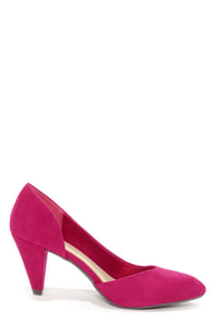 Chinese Laundry Angelina Berry Purple Suede D'Orsay Kitten Heels at Lulus.com!