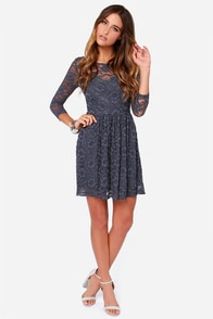 LULUS Exclusive Our Song Grey Lace Dress at Lulus.com!