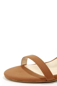 Bamboo Jenna 07 Chestnut and Gold Ankle Strap Heels at Lulus.com!