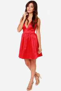 LULUS Exclusive Bacall the Shots Satin Red Dress at Lulus.com!