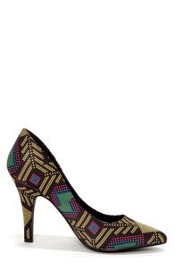 Restricted Jelly Kat Yellow Print Satin Pointed Pumps at Lulus.com!