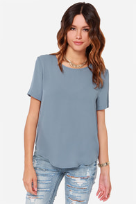 Road to You Blue Grey Top at Lulus.com!