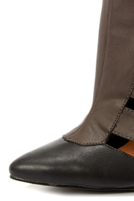 Michael Antonio Meka Charcoal and Black Pointed Toe Booties at Lulus.com!