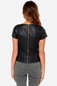 Zip To It Black Vegan Leather Top at Lulus.com!