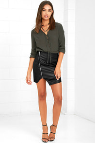 On the Zip-Side Black Vegan Leather Asymmetrical Skirt at Lulus.com!
