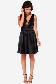 LULUS Exclusive Bacall the Shots Satin Black Dress at Lulus.com!