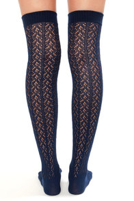 Tabbisocks Kawaii Crocheted Navy Blue Over the Knee Socks at Lulus.com!
