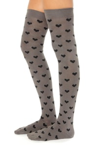 Tabbisocks Love to Love You Over the Knee Grey Heart Socks at Lulus.com!