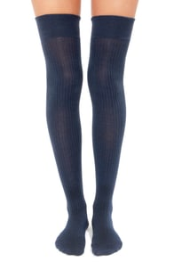 Tabbisocks Extra Sweet Ribbed Over the Knee Navy Blue Socks at Lulus.com!
