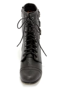 Madden Girl Ginghamm Black Buckled and Lace-Up Combat Boots at Lulus.com!