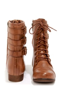 Madden Girl Ginghamm Cognac Buckled and Lace-Up Combat Boots at Lulus.com!