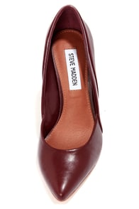 Steve Madden Clydee Wine Leather Two-Tone Pointed Pumps at Lulus.com!