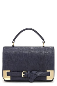 Big Buddha Corbin Navy Blue Satchel at Lulus.com!