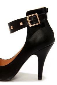 Leuven Fiene Black Studded Ankle Strap Heels at Lulus.com!