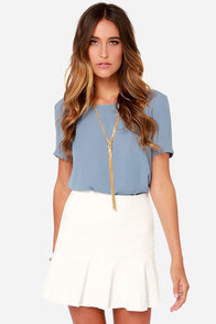 Tea and Trumpets Ivory Vegan Leather Skirt at Lulus.com!
