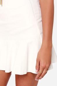 Tea and Trumpets Ivory Vegan Leather Skirt at Lulus.com!