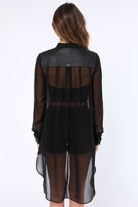 Obey Dirty Little Secret Sheer Black Top at Lulus.com!