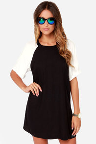Obey Cara Black and Ivory Shift Dress at Lulus.com!