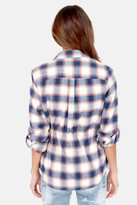 Obey Deja Vu Blue Flannel Button-Up Top at Lulus.com!