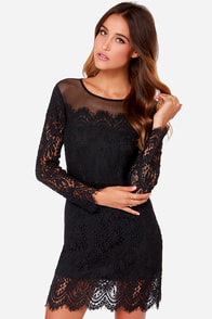 Between You And I Long Sleeve Black Lace Dress at Lulus.com!
