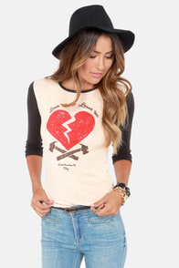 Obey 89 Heartbreakers Nubby Black and Cream Top at Lulus.com!
