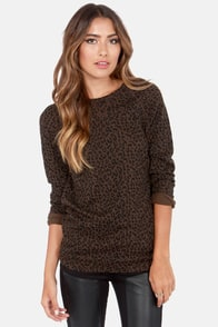 Obey Echo Mountain Animal Print Sweater Top