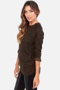 Obey Echo Mountain Animal Print Sweater Top at Lulus.com!