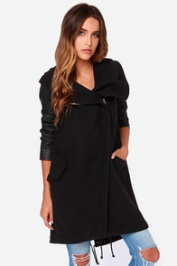 BB Dakota Meilani Black Hooded Coat at Lulus.com!