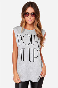 Style Stalker Pour It Up Heather Grey Muscle Tee at Lulus.com!