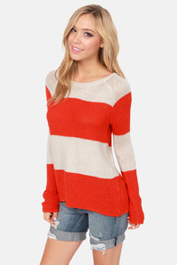 Olive & Oak Set of Stripes Red Orange Striped Sweater at Lulus.com!