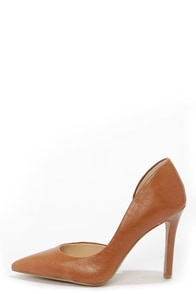 Jessica Simpson Claudette Burnt Umber Leather D'Orsay Pumps at Lulus.com!