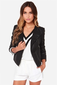 BB Dakota Reasha Black Vegan Leather Moto Jacket at Lulus.com!