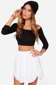 Obey Just Kids Ivory Mini Skirt at Lulus.com!