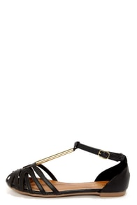 Bamboo Lynna 27 Black and Gold Strappy Flats at Lulus.com!
