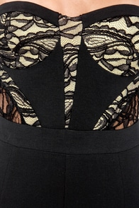 Looking Up Strapless Black Lace Jumpsuit at Lulus.com!